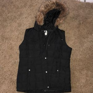 Puffer vest with fur lined hood